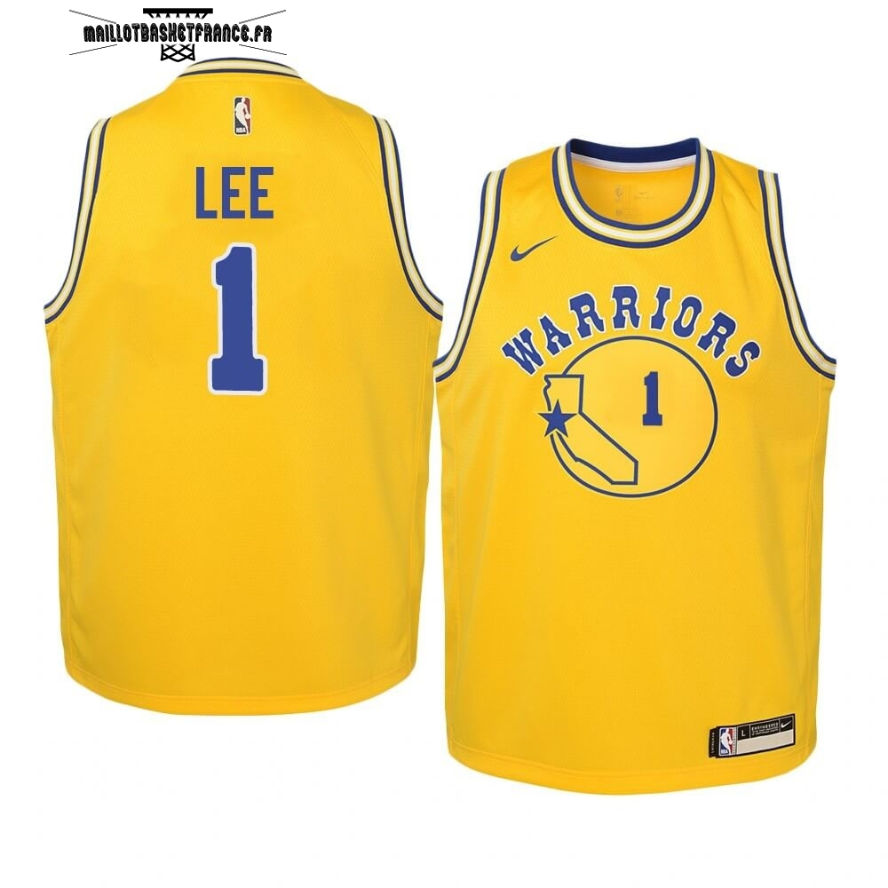 Meilleur Maillot NBA Enfant Golden State Warriors NO.1 Damion Lee Or Hardwood Classics 2019-20
