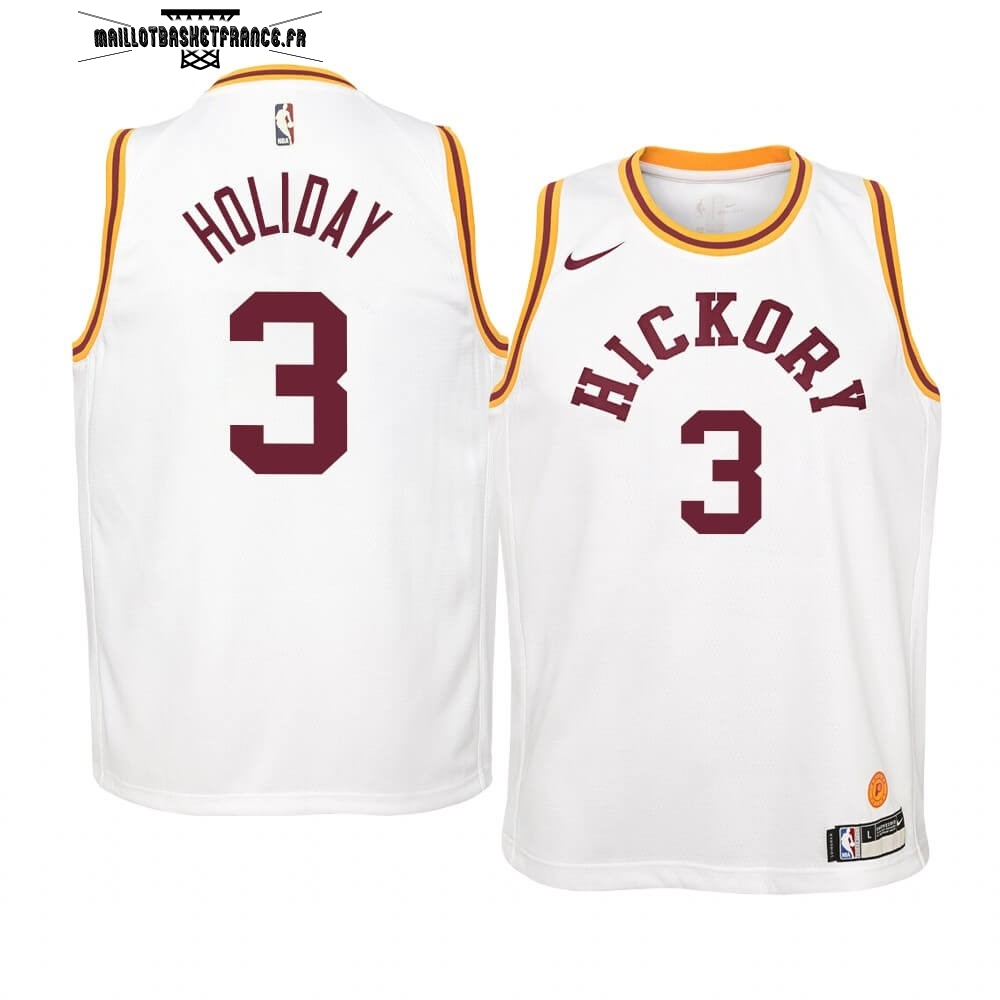 Meilleur Maillot NBA Enfant Indiana Pacers NO.3 Aaron Holiday Nike Retro Blanc