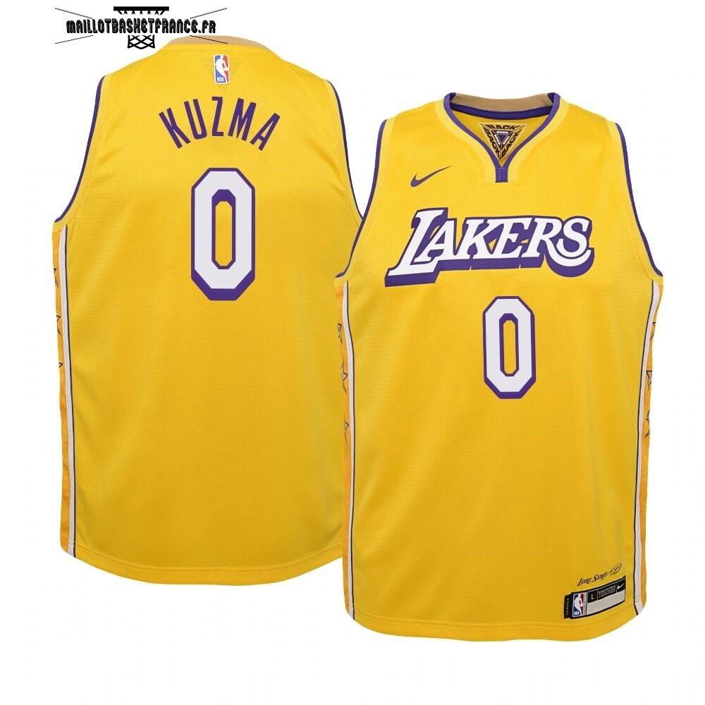 Meilleur Maillot NBA Enfant Los Angeles Lakers NO.0 Kyle Kuzma Nike Jaune Ville 2019-20