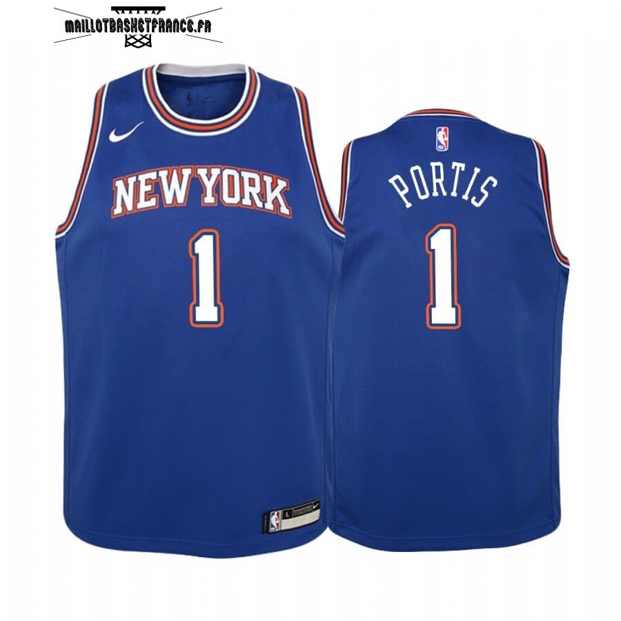 Meilleur Maillot NBA Enfant New York Knicks NO.1 Bobby Portis Bleu Statement 2019-20
