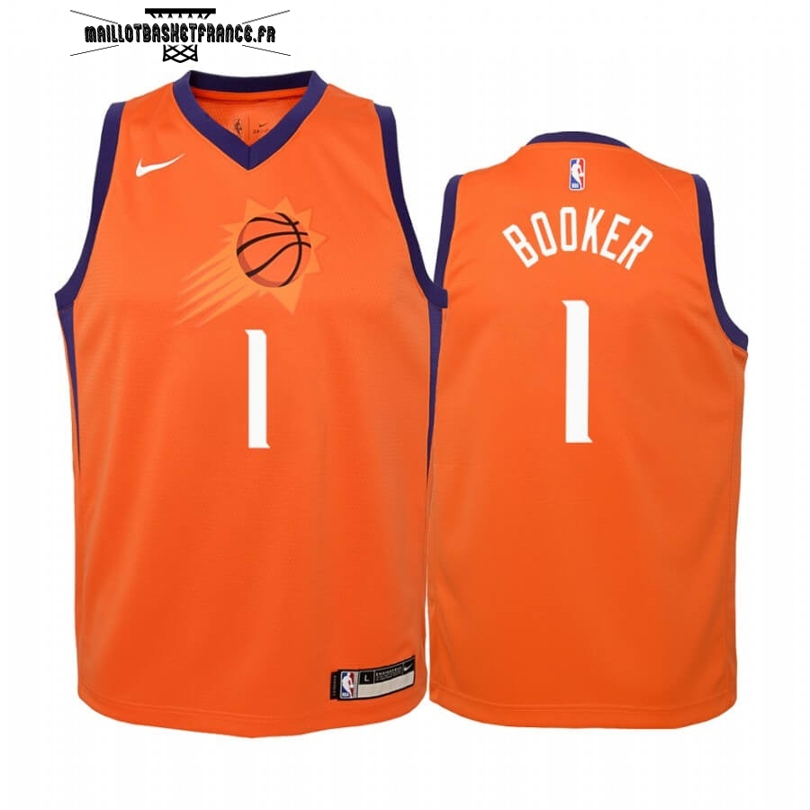 Meilleur Maillot NBA Enfant Phoenix Suns NO.1# Devin Booker Orange Statement 2019-20