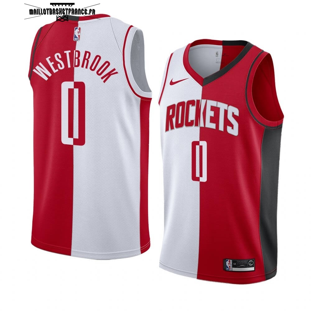 Meilleur Maillot NBA Nike Houston Rockets NO.0 Russell Westbrook Rouge Blanc Split Edition