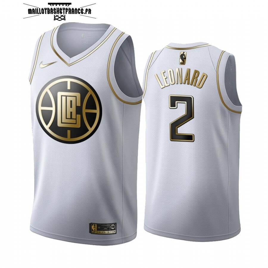 Meilleur Maillot NBA Nike Los Angeles Clippers NO.2 Kawhi Leonard Blanc Or 2019-20
