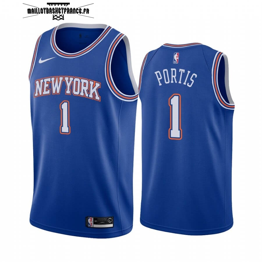 Meilleur Maillot NBA Nike New York Knicks NO.1 Bobby Portis Bleu Statement 2019-20