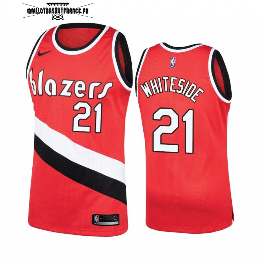 Meilleur Maillot NBA Portland Trail Blazers NO.21 Hassan Whiteside Rouge Hardwood Classics