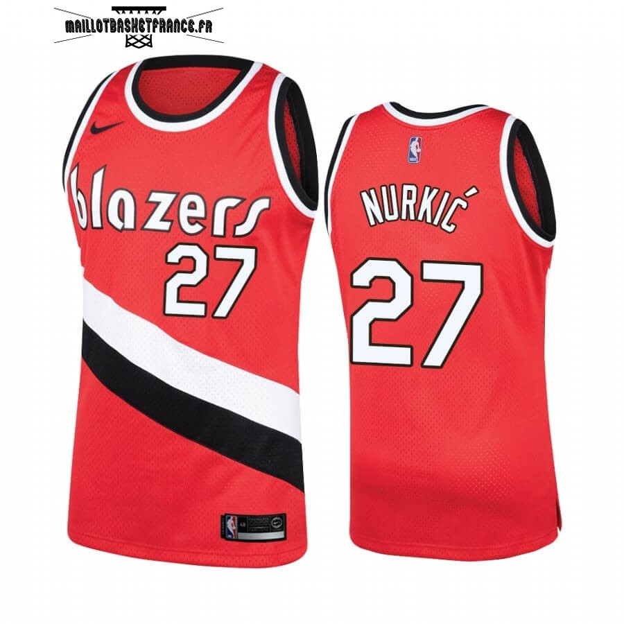 Meilleur Maillot NBA Portland Trail Blazers NO.27 Jusuf Nurkic Rouge Hardwood Classics