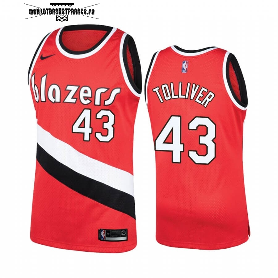 Meilleur Maillot NBA Portland Trail Blazers NO.43 Anthony Tolliver Rouge Hardwood Classics