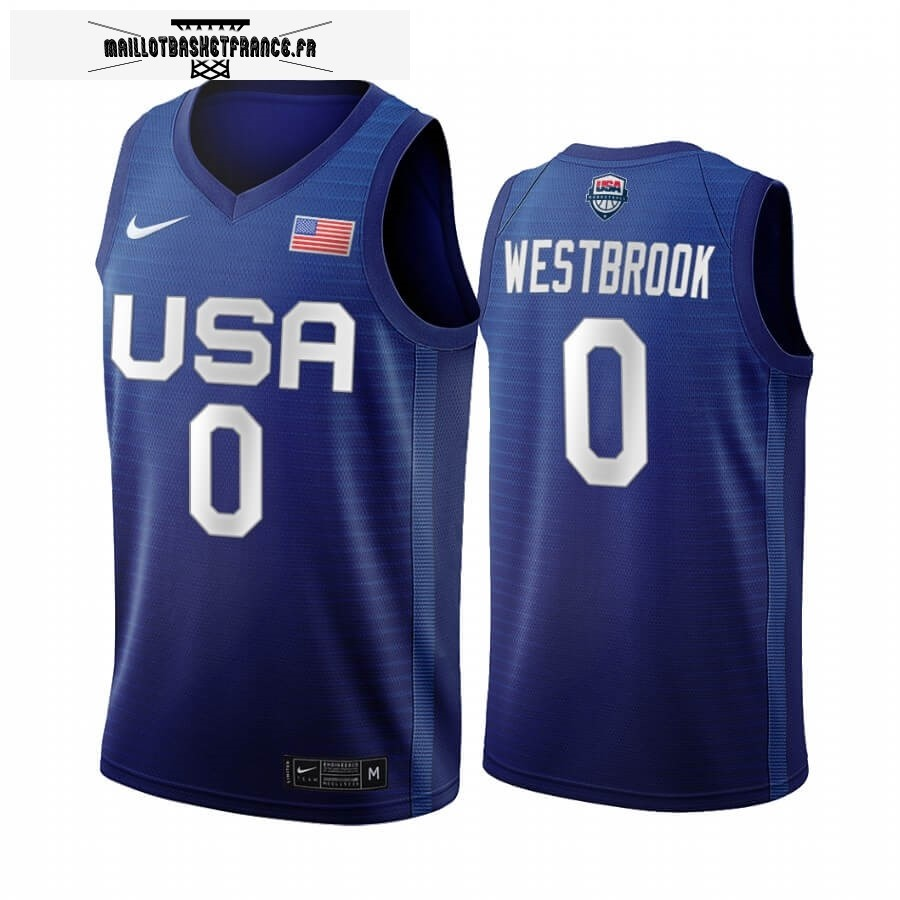 Maillot 2020 Jeux Olympiques Tokyo USMNT NO.0 Russell Westbrook Bleu