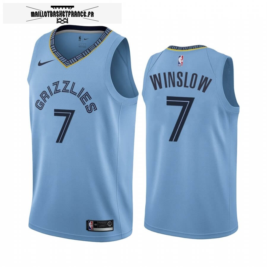 Maillot NBA Nike Menphis Grizzlies NO.7 Justise Winslow Bleu Statement 2019-20