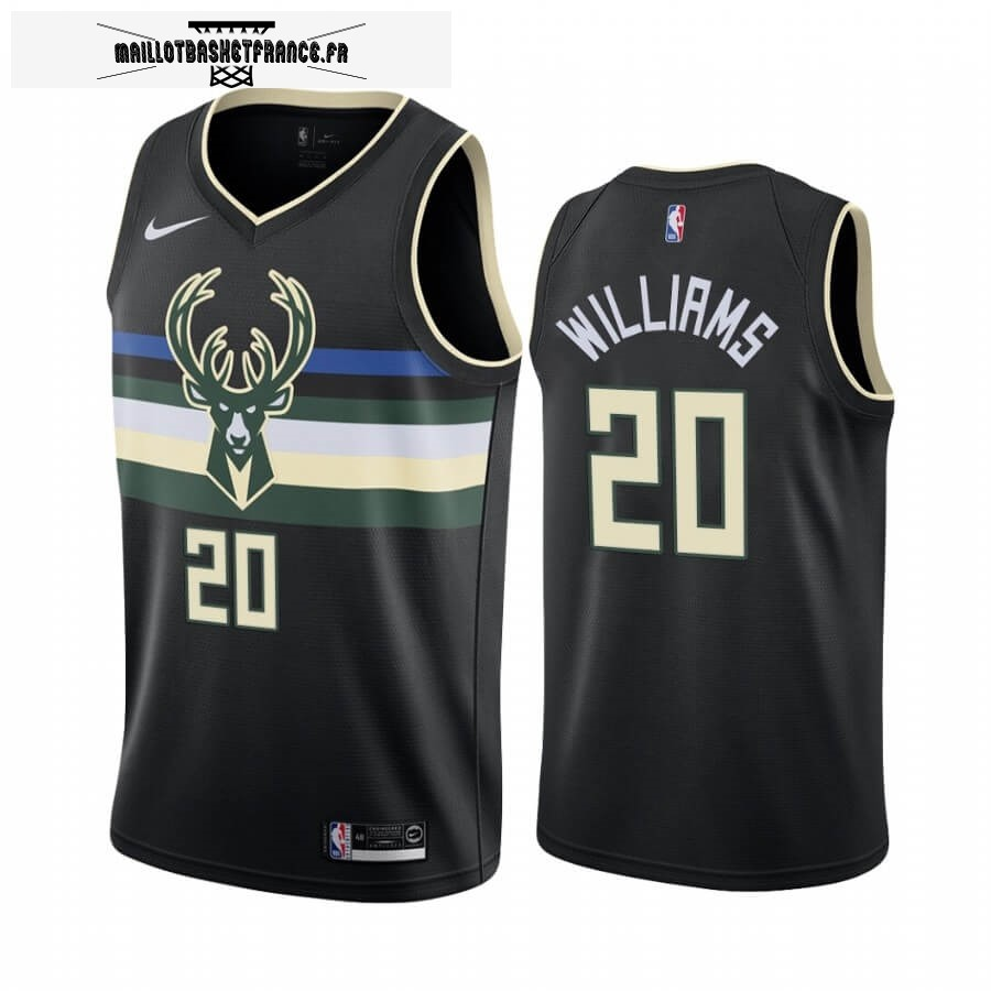 Maillot NBA Nike Milwaukee Bucks NO.20 Marvin Williams Noir Statement 2019-20