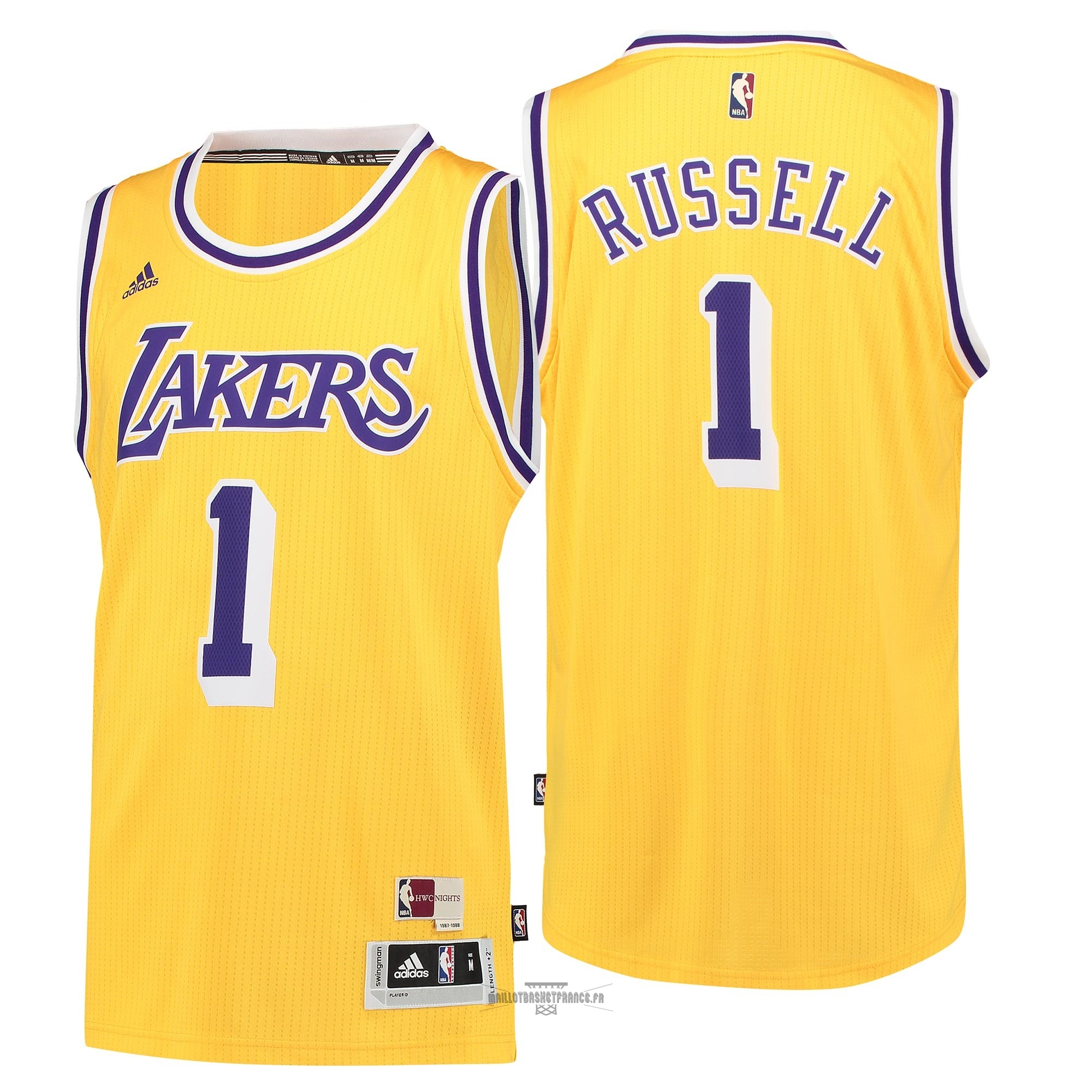 Meilleur Maillot NBA Los Angeles Lakers NO.1 D'Angelo Russell Retro Bleu