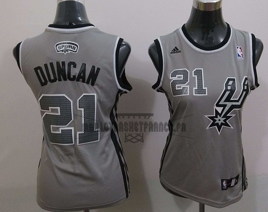 Meilleur Maillot NBA Femme 2013 Static Fashion NO.21 Tim Duncan Gris