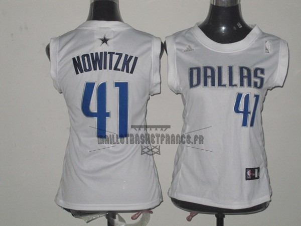 Meilleur Maillot NBA Femme Dallas Mavericks NO.41 Dirk Nowitzki Blanc