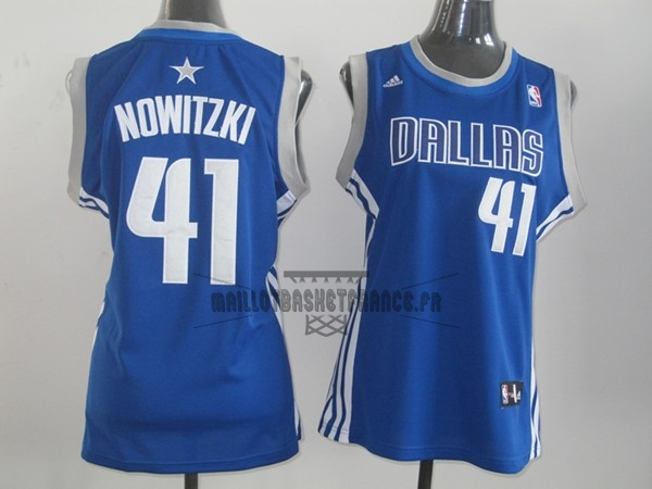 Meilleur Maillot NBA Femme Dallas Mavericks NO.41 Dirk Nowitzki Bleu
