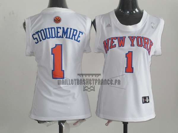 Meilleur Maillot NBA Femme New York Knicks NO.1 Amar'e Stoudemire Blanc