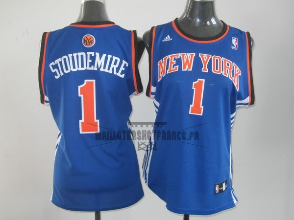 Meilleur Maillot NBA Femme New York Knicks NO.1 Amar'e Stoudemire Bleu Orange