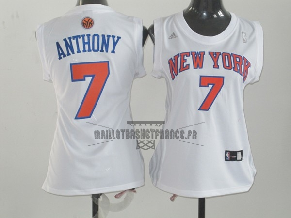 Meilleur Maillot NBA Femme New York Knicks NO.7 Carmelo Anthony Blanc Orange