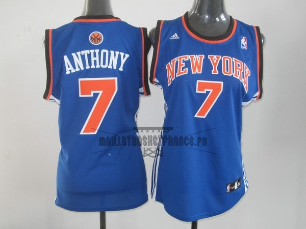 Meilleur Maillot NBA Femme New York Knicks NO.7 Carmelo Anthony Bleu Orange