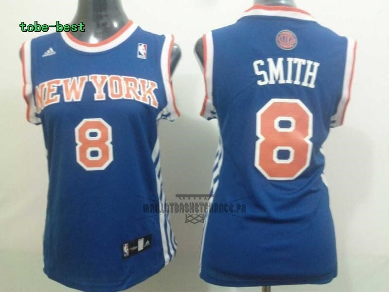 Meilleur Maillot NBA Femme New York Knicks NO.8 JR.Smith Bleu