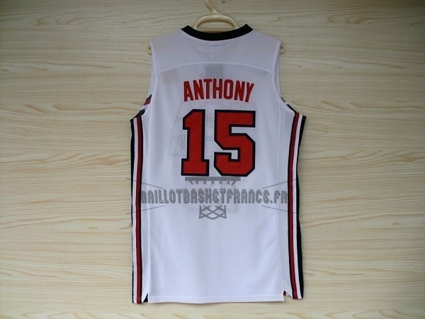 Meilleur Maillot NBA 1992 USA NO.15 Anthony Blanc