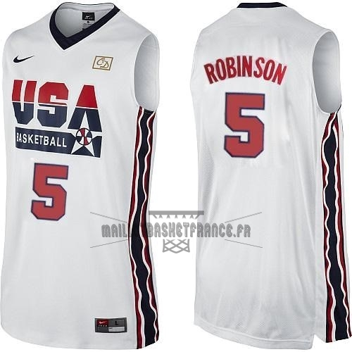 Meilleur Maillot NBA 1992 USA NO.5 David Robinson Blanc