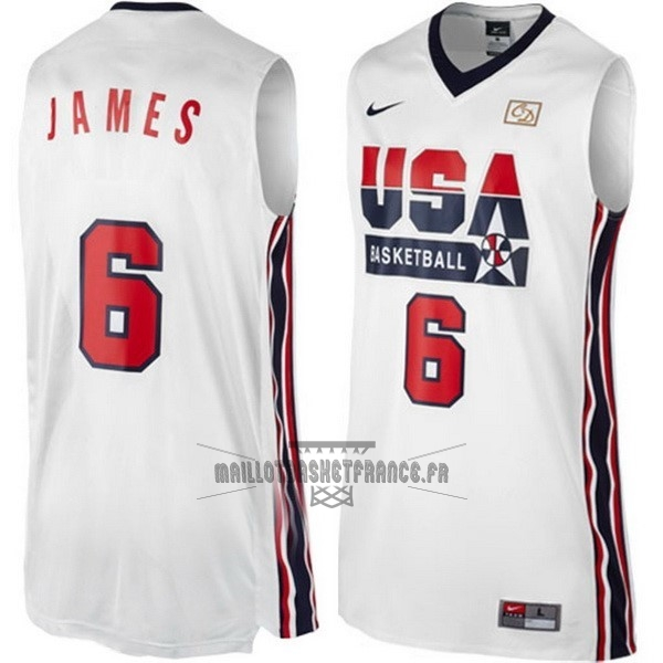 Meilleur Maillot NBA 1992 USA NO.6 James Blanc