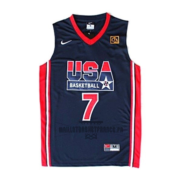 Meilleur Maillot NBA 1992 USA NO.7 Bird Noir