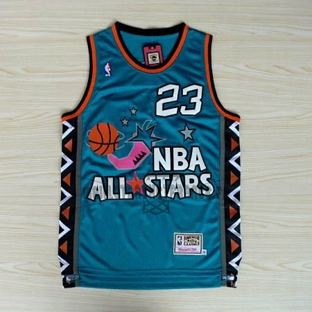 Meilleur Maillot NBA 1996 All Star NO.23 Michael Jordan Bleu