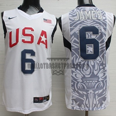 Meilleur Maillot NBA 2008 USA NO.6 James Blanc