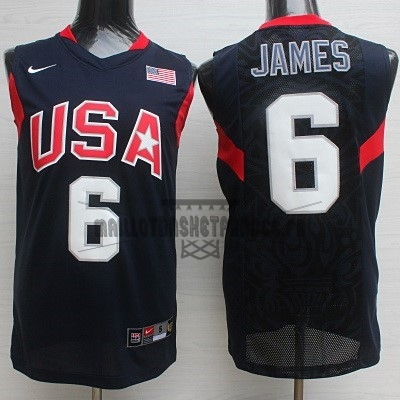 Meilleur Maillot NBA 2008 USA NO.6 James Noir