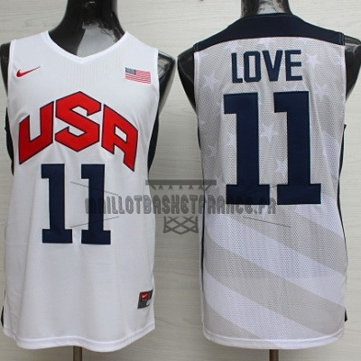 Meilleur Maillot NBA 2012 USA NO.11 Kevin Love Blanc