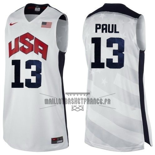 Meilleur Maillot NBA 2012 USA NO.13 Paul Blanc