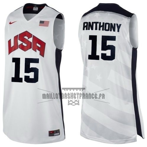 Meilleur Maillot NBA 2012 USA NO.15 Anthony Blanc