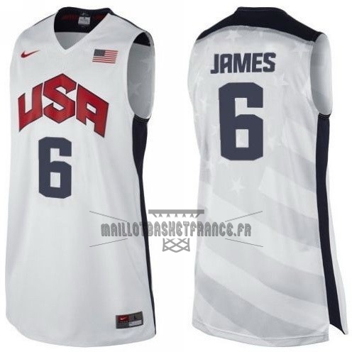 Meilleur Maillot NBA 2012 USA NO.6 James Blanc