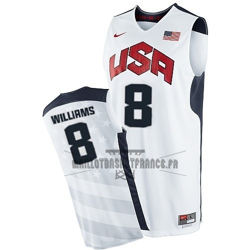 Meilleur Maillot NBA 2012 USA NO.8 Williams Blanc