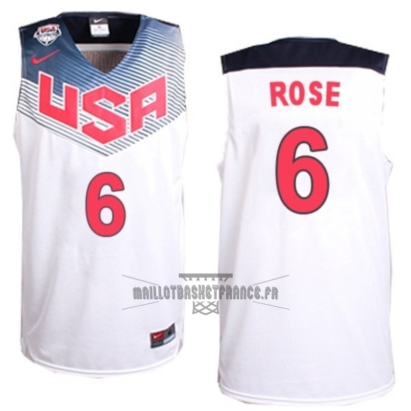 Meilleur Maillot NBA 2014 USA NO.6 Rose Blanc