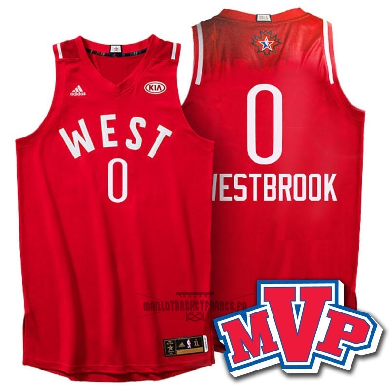 Meilleur Maillot NBA 2016 All Star NO.0 Russell Westbrook Rouge
