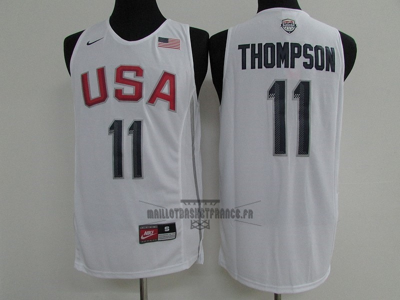Meilleur Maillot NBA 2016 USA NO.11 Klay Thompson Blanc