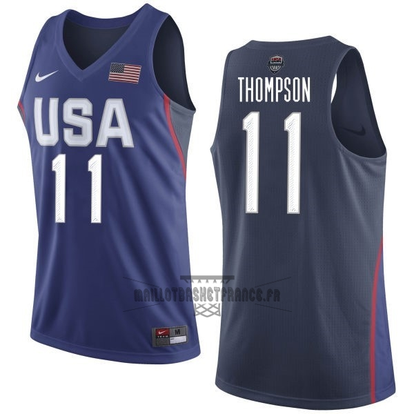 Meilleur Maillot NBA 2016 USA NO.11 Klay Thompson Bleu