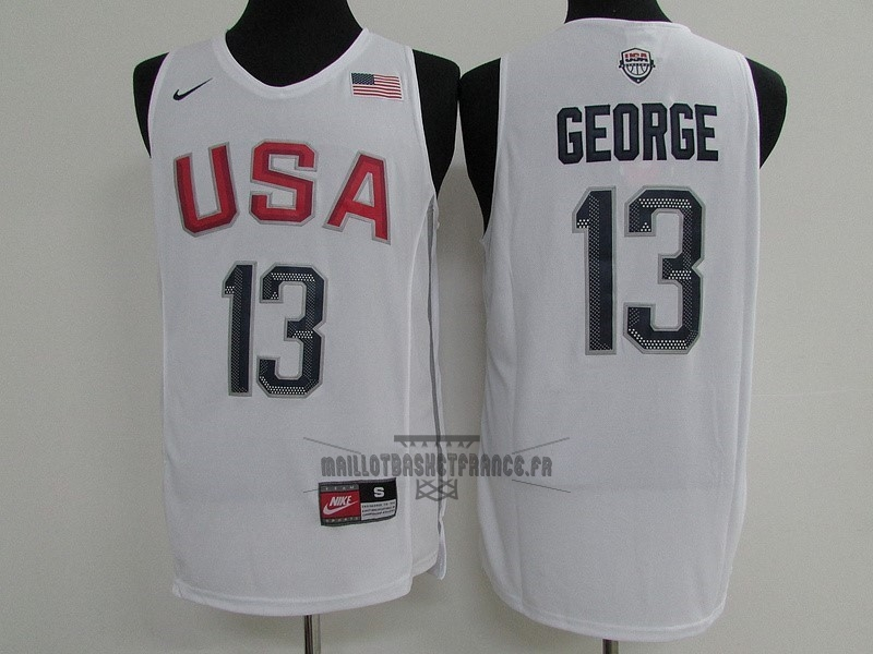 Meilleur Maillot NBA 2016 USA NO.13 Paul George Blanc