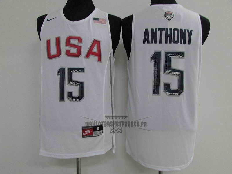 Meilleur Maillot NBA 2016 USA NO.15 Carmelo Anthony Blanc
