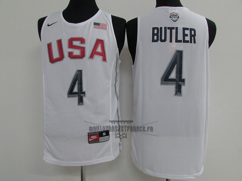 Meilleur Maillot NBA 2016 USA NO.4 Jimmy Butler Blanc