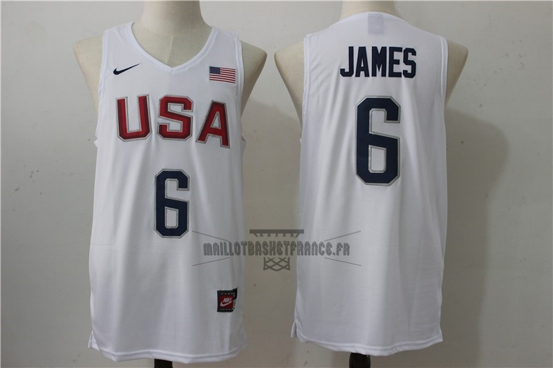 Meilleur Maillot NBA 2016 USA NO.6 James Blanc