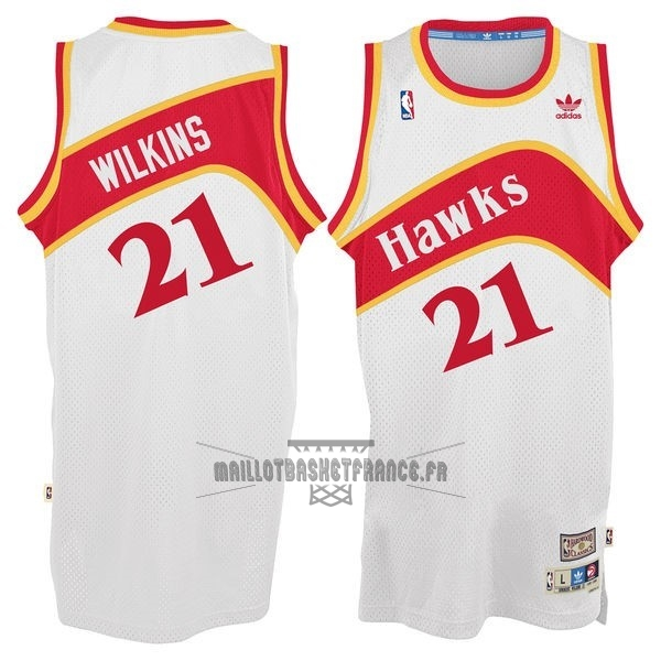 Meilleur Maillot NBA Atlanta Hawks No.21 Dominique Wilkins Blanc