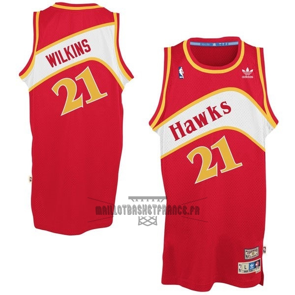 Meilleur Maillot NBA Atlanta Hawks No.21 Dominique Wilkins Rouge