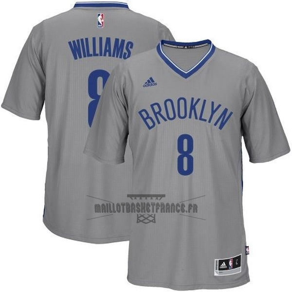 Meilleur Maillot NBA Brooklyn Nets Manche Courte No.8 Deron Michael Williams Gris