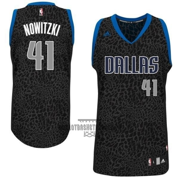 Meilleur Maillot NBA Dallas Mavericks Luz Léopard NO.41 Nowitzki Noir