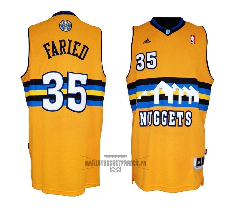 Meilleur Maillot NBA Denver Nuggets NO.35 Kenneth Faried Jaune