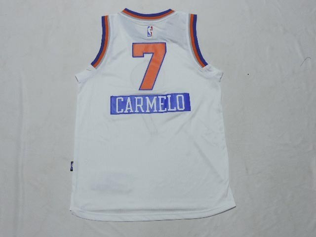 Meilleur Maillot NBA Enfant 2014 Noël New York Knicks NO.7 Carmelo Blanc