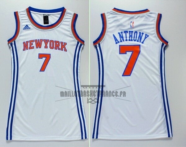 Meilleur Maillot NBA Femme New York Knicks NO.7 Carmelo Anthony Blanc